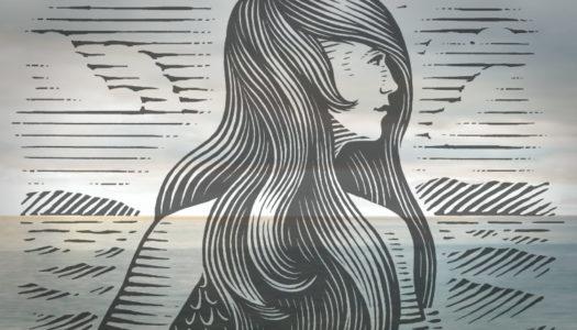 Mermaid woodcut superimposed on ocean horizon
